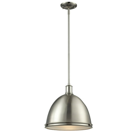 - Pendants 1 Light With Brushed Nickel Finish Steel Medium Base Bulb 13 inch 100 Watts