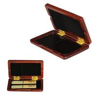 Solid Wood Reed Case Wooden Holder Box for Tenor/ Alto/ Soprano Saxophone Clarinet Reeds, 2pcs Capacity