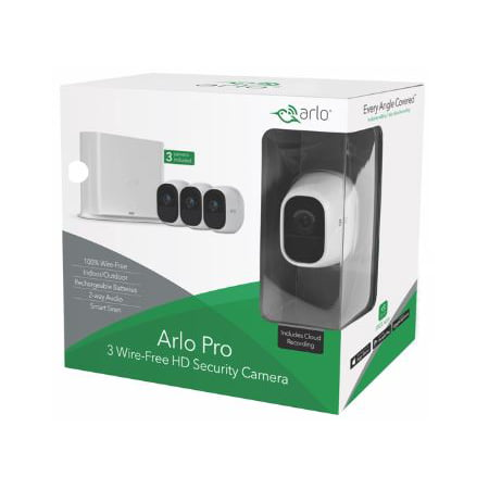 Arlo Pro 720P HD Security Camera System VMS4330 - 3 Wire-Free Rechargeable Battery Cameras with Two-Way Audio, Indoor/Outdoor, Night Vision, Motion (3 Security Camera)