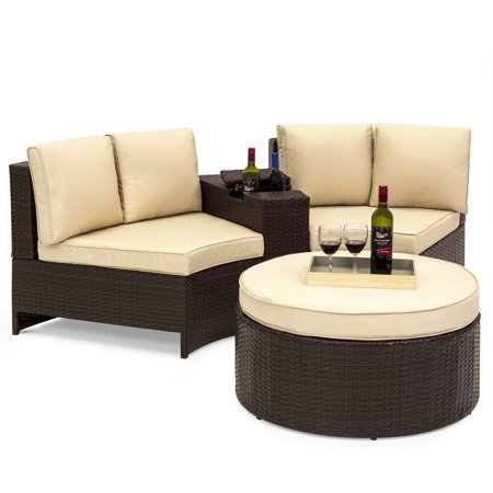 Best Choice Products 4-Piece Backyard Patio Furniture Wicker Sofa Sectional Set w/ Umbrella Holder and Storage -