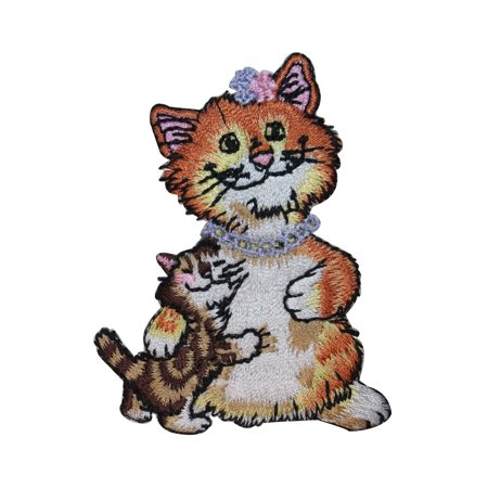 ID 3006 Mama Cat With Kitten Patch Kitty Cute Pet Embroidered Iron On Applique