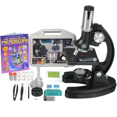 Agm Metal - AMSCOPE-KIDS 120X-240X-300X-480X-600X-1200X Starter Kit Metal Arm Children Biological Microscope Kit + Microscope Book