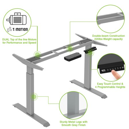 "AdvanceUp Dual Motor Adjustable Electric Stand Up Office Desk Frame, 47"" Height & 63"" Width, Support 220 lbs with 4 Memory Presets, Grey"