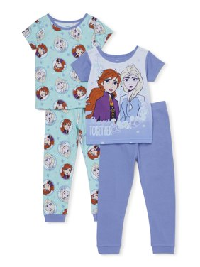 Frozen 2 Anna & Elsa Toddler Girls Snug Fit Cotton Short Sleeve Pajamas, 4pc Set (2T-4T)