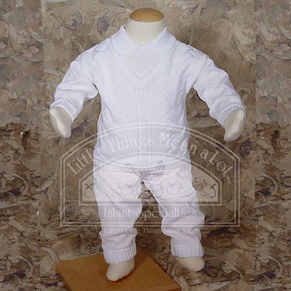 Baby Boys White Cotton Knit 2 pc Christening Baptism Outfit 0-24M