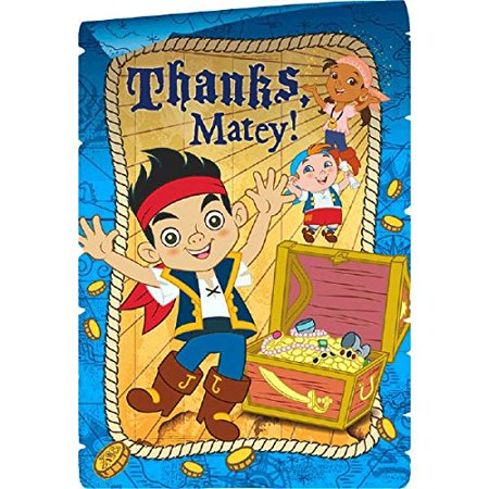 Amscan AMI 481288 Jake And The Neverland Pirates Postcard Thank You Cards 1