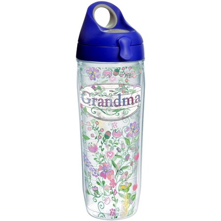Tervis 1230699 Grandma Flower Tumbler with Wrap and Blue with Gray Lid 24oz Water Bottle, Clear Individual Royal Blue with Gray Lid 24 oz Water Bottle - - Column Individual Bottle