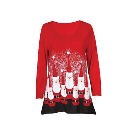 Women's Ultimate Santa Jersey Tunic Top - 3/4 Sleeve Christmas Shirt, Red Michael Stars Jersey Tunic