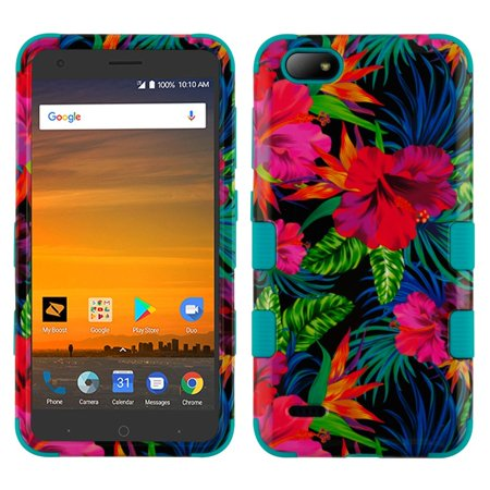 MyBat Tuff Hibiscus Flowers Hard Plastic/Soft TPU Rubber Case Cover For ZTE Blade Force, Multi-Color (Hibiscus Flowers For Sale)