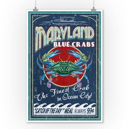 Ocean City, Maryland - Blue Crabs Vintage Sign - Lantern Press Artwork (9x12 Art Print, Wall Decor Travel Poster)