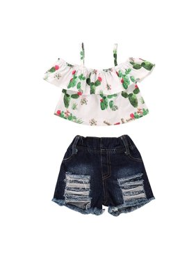 2Pcs Newborn Baby Girl Cactus Print Off Shoulder Tops Ripped Short Jeans Clothes