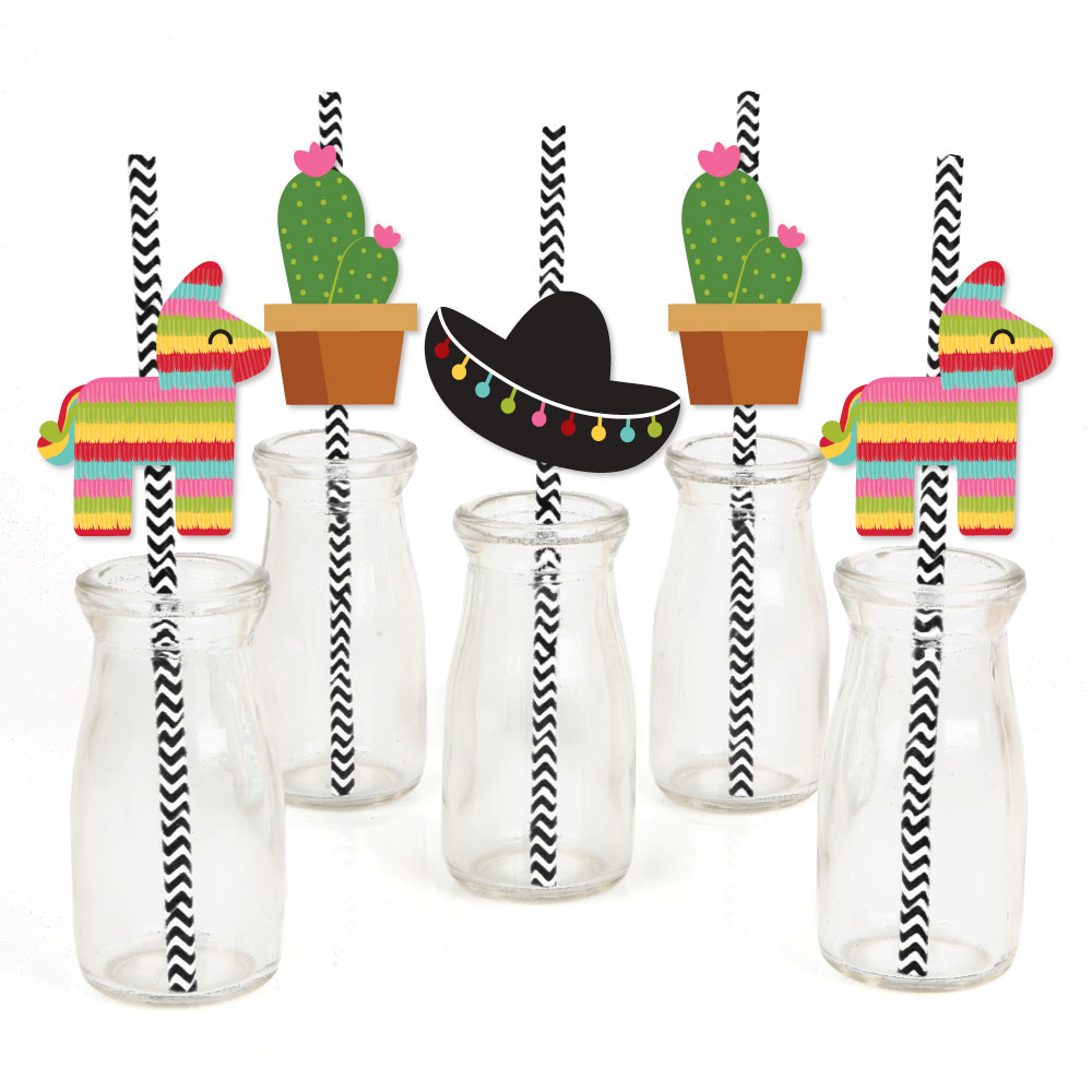 Let's Fiesta - Paper Straw Decor - Mexican Fiesta  Striped Decorative Straws - Set of 24