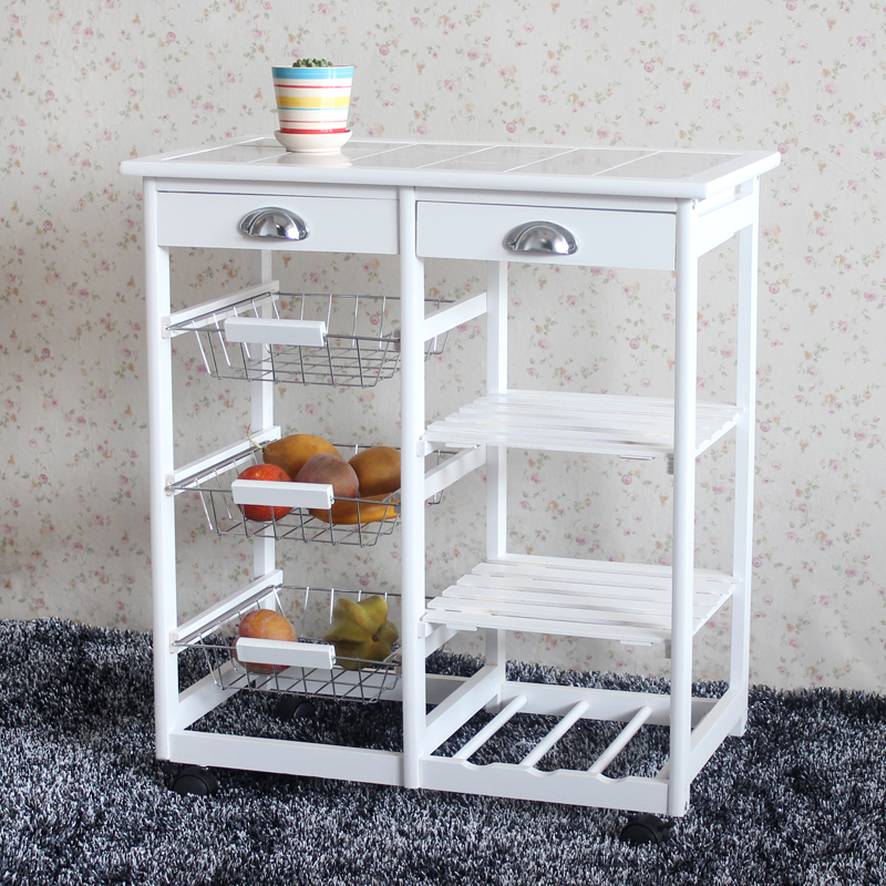 UBesGoo Kitchen Island Dining Cart Baker Cabinet Basket Storage Shelves Organizer White