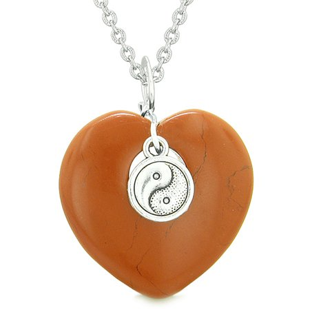 Red Jasper Heart Necklace - Yin Yang Balance Powers Puffy Magic Heart Amulet Red Jasper Pendant 22 inch Necklace