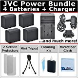 4 BN_VF823 Batteries + AC_DC Turbo Charger with Travel Adapter + Complete Deluxe Kit for JVC Everio GZ_MG630A GZ_MG630R GZ_MG630