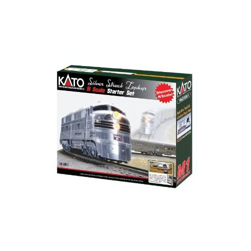 Kato USA Model Train Products N CB&Q Streak Zephyr UNITRACK Starter Set, Silver Multi-Colored