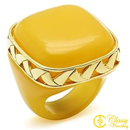 Classy Not Trashy® Size 6 Women's Topaz Color Synthetic Stone Ring with Gold Trim