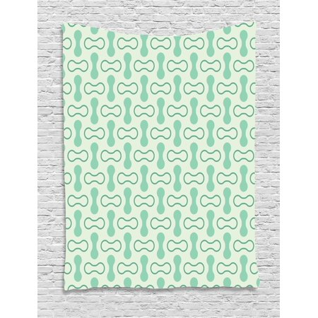 Mint Tapestry, Abstract Rounded Shapes Vertical and Horizontal Shabby Simplistic Retro, Wall Hanging for Bedroom Living Room Dorm Decor, 40W X 60L Inches, Pale and Jade Green Teal, by Ambesonne