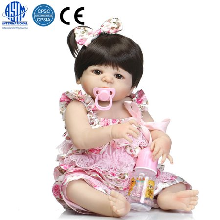 "Zimtown 22"" Collection Reborn Baby Doll Full Silicone Reborn Handmade Baby Sleeping Doll Vinyl Newborn Toy in Suspenders Christmas Gift"