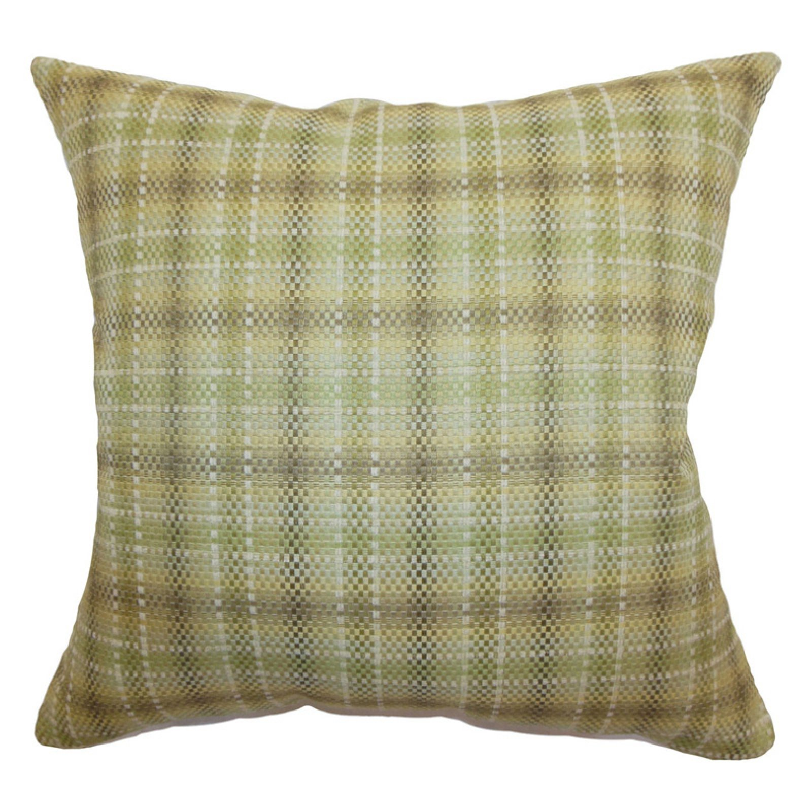 The Pillow Collection Adelasia Plaid Pillow - Leaf