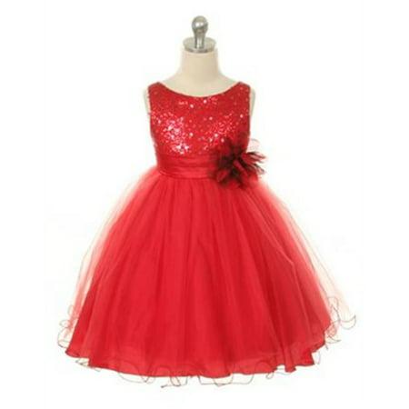 Efavormart Glittery Sequined Bodice and Double Layered Mesh Girls Dress Birthday Girl Dress Junior Flower Girl Wedding Girls Dress