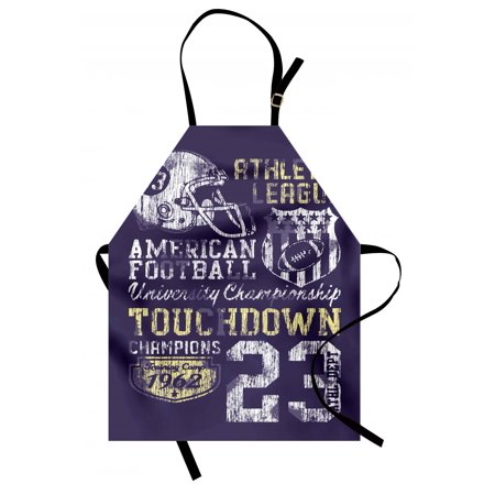 Sports Apron Retro Style American Football College Theme Illustration Athletic Championship Apparel, Unisex Kitchen Bib Apron with Adjustable Neck for Cooking Baking Gardening, Purple, by Ambesonne - College Football Themes