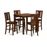 East West Furniture VNBU5-MAH-LC 5 Piece Pub Table Set-Counter Height Table and 4 Stools