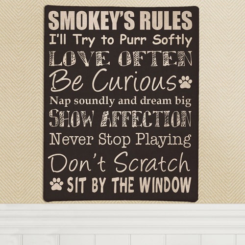 Personalized Cat Rules Canvas