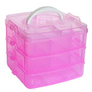 Clear Plastic Craft Beads Jewellery Storage Organizer Tool Box Case BU