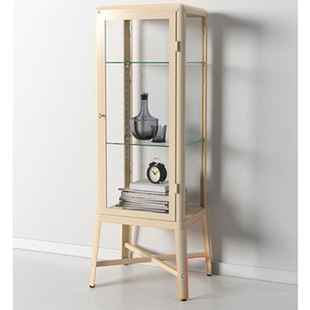 Ikea Fabrikor Glass Door Cabinet Beige Lockable Industrial