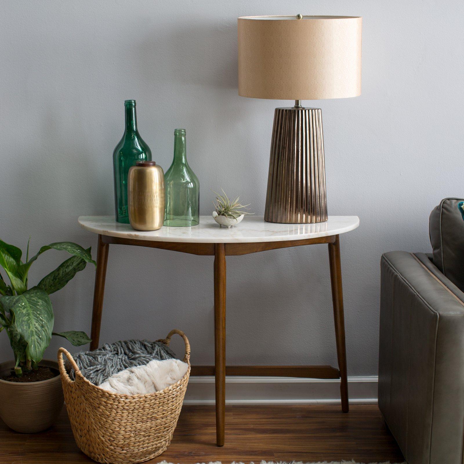 Belham Living James Half-Round Mid Century Modern Marble Sofa Table