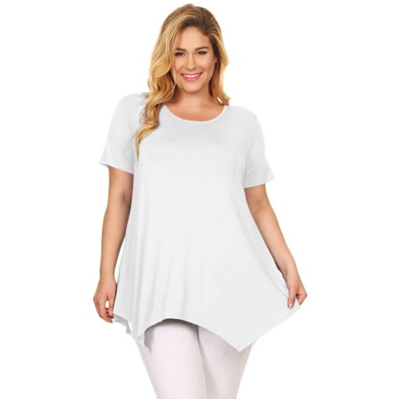 c59f95d6b713a9 Simlu Plus Size Short Sleeve A-Line Tunic Tops with Handkerchief Hem - USA