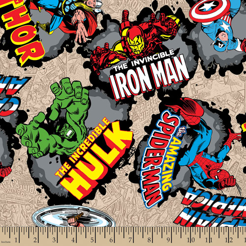 "Marvel Comic, Comic Burst, Cotton, Tan, 43/44"" Wide, Fabric by the Yard"