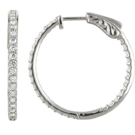 Platinum Polished Earring - Platinum Diamond 26.5mm Polished 1 Dwt Diamond Hoop Earrings