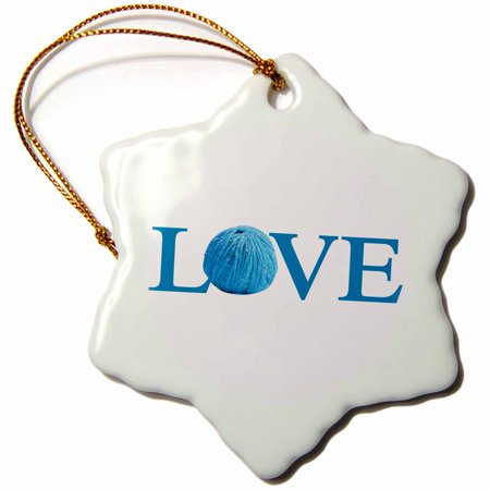 3Drose Love Knitting   Blue Text With Ball Of Yarn Wool   Knit Knitter Fan  Snowflake Ornament  Porcelain  3 Inch