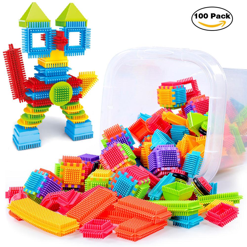 100pcs Bristle Shape 3D Building Blocks Tiles Construction Playboards Toys by Unbranded