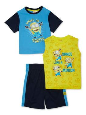 Minions Toddler Boy T-Shirt, Tank Top & Mesh Shorts, 3pc Active Outfit Set