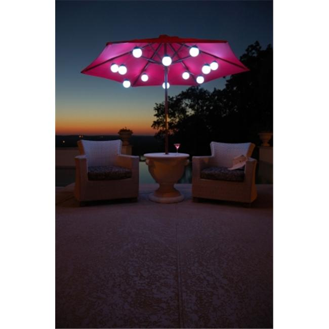 Patio Living  08129 12 Globe Color Changing LED Umbrella String Lights