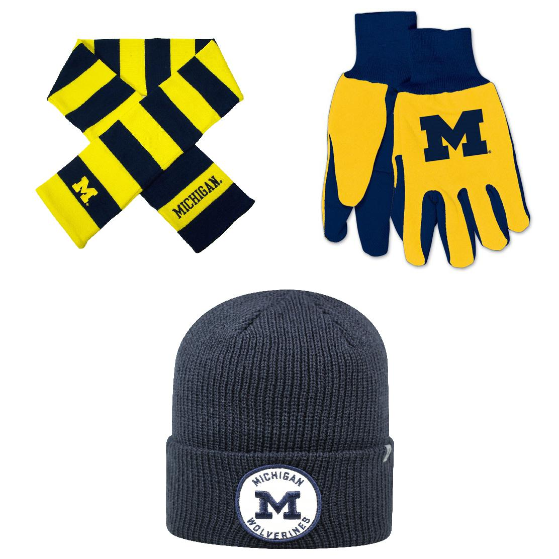 NCAA Michigan Wolverines Wharf Beanie Hat Grip Work Glove And Striped Rugby Scarf 3 Pack Bundle
