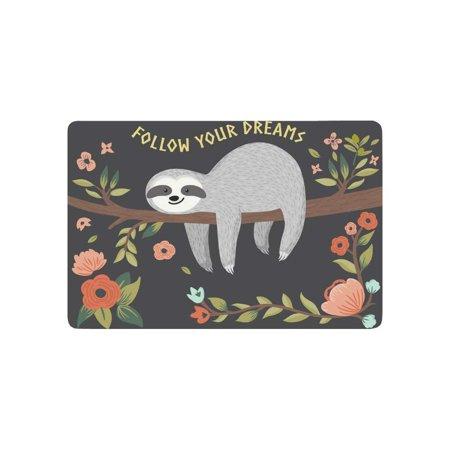 CADecor Cute Baby Sloth on the Tree Door Mat Home Decor, Follow Your Dream Quote Indoor Outdoor Entrance Doormat 23.6x15.7 Inches