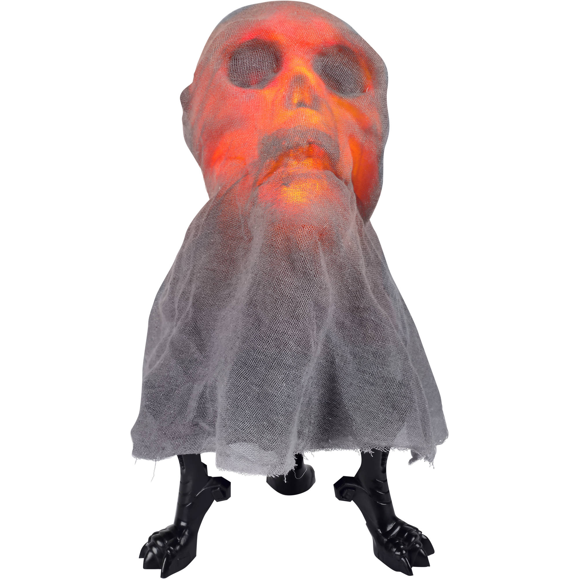Animated Lightshow Tabletop Fire and Ice Skull Head Halloween Decoration