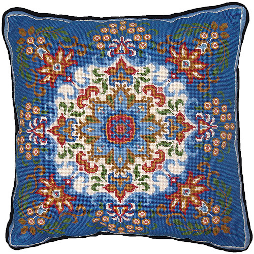 "Blue Kaleidoscope Needlepoint Kit, 14"" x 14"" Stitched In Floss"