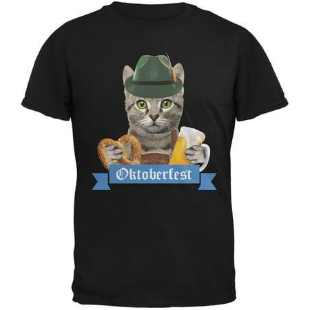 Oktoberfest Funny Cat Black Adult T-Shirt