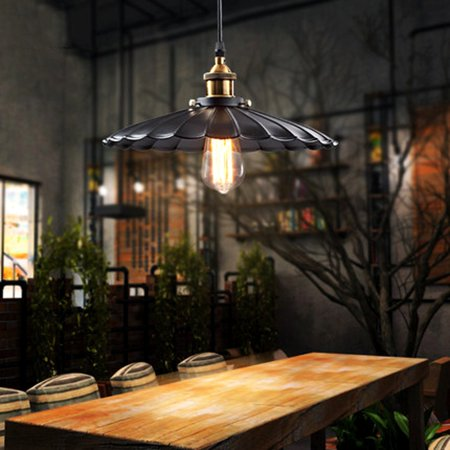 Retro Industrial Vintage Iron Hanging Ceiling Lamp Chandelier Pendant Light Fixture Barn Lampshade Matte Lights & Lighting Black for Kitchen Living Room Bar Counter Dining Room Restaurant ()
