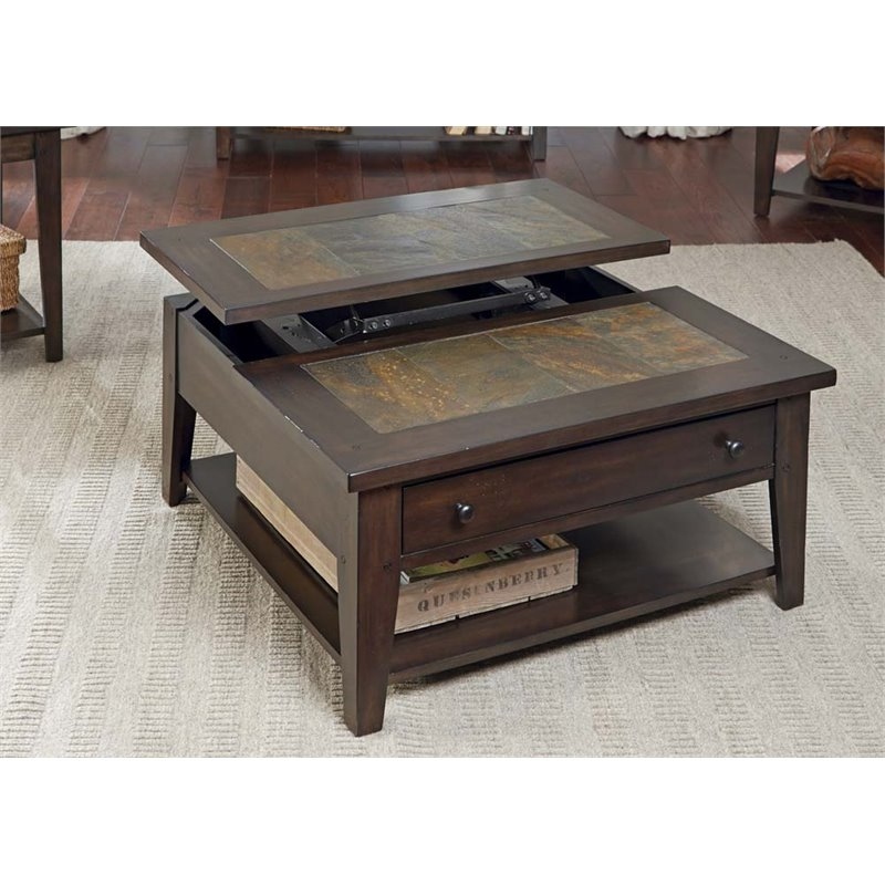 Liberty Furniture Hearthstone Lift Top Coffee Table in Dark Rustic Oak