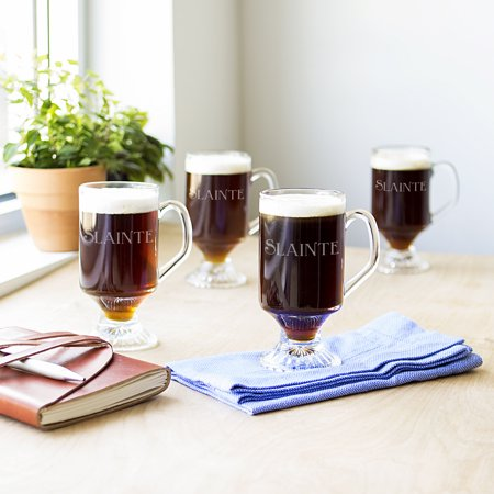 Personalized 10 oz. Irish Glass Coffee Mugs (Set of