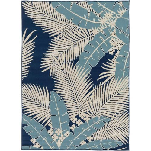 7.85' x 10.25' Tropical Aspects Navy, Steel Blue and Ivory Area Throw Rug