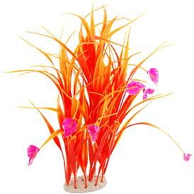 uxcell Aquarium Fish Tank Pink Flower Orange Plastic Plants Ornament