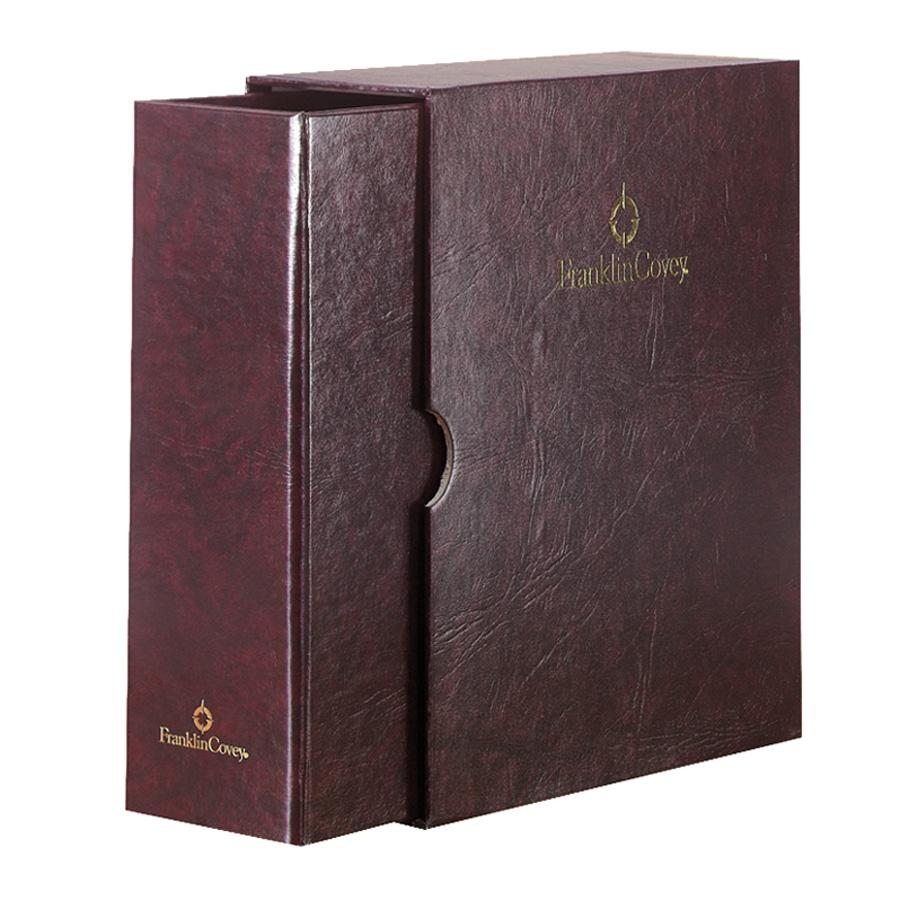 """Franklin Covey Classic Storage Binder And Sleeve - Statement - 5.50"""" X 8.50"""" - 7 X Ring Fastener - Burgundy - 1 Each (FDP19089)"""