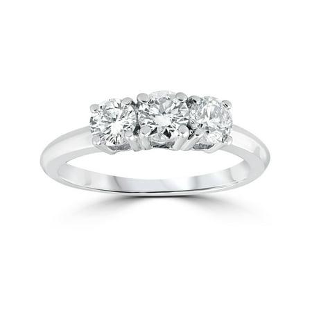 1 Carat 3-Stone Diamond Engagement Ring Solitaire Round Cut 14k White